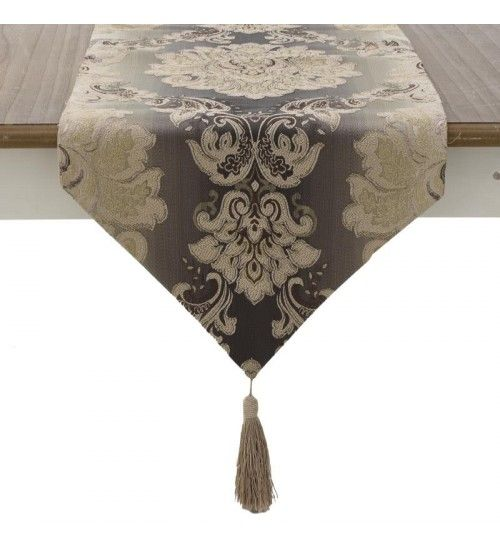 FABRIC TABLE RUNNER W_TASSELS IN GREY_BEIGE COLOR 140X32