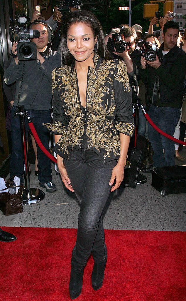 In 2012, the starlet donned a bold gold and black jacket with black jeans.
