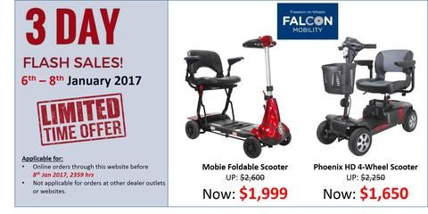 3 day flash sale! Applicable for Singapore and Malaysia online orders only. #mobilityscooter #motorisedwheelchair #wheelchair