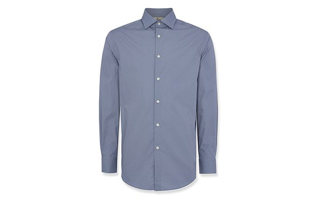 """Blue Herringbone Shirt. """"Give your workwear a contemporary spin in this polka dot tailored shirt."""""""