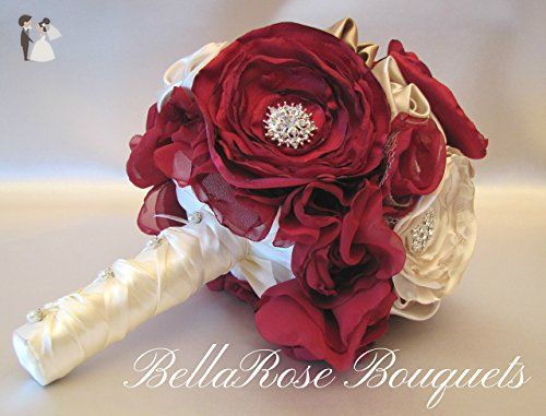 1716 best wedding table decor images on pinterest wedding tables burgundy wedding bouquet fabric flower champagne keepsake brooch bridal bridesmaid marsala rustic shabby chic vintage style bouquet by bellarosebouquets junglespirit Gallery