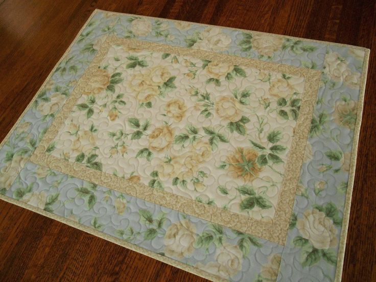 Quilted Table Topper With Roses In Blue And Yellow, Quilted Table Runner,  Cottage Chic