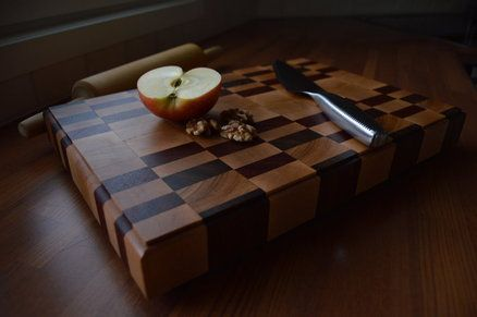 My first cutting board,made from maple,padauk,walnut and cherry.