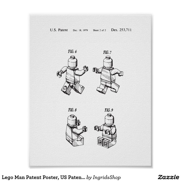 Lego Man Patent Poster, US Patent Wall Art