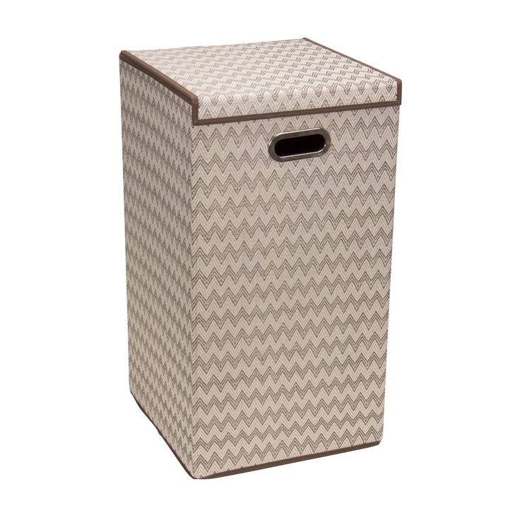 Collapsible Laundry Hamper with Lid, Chevron