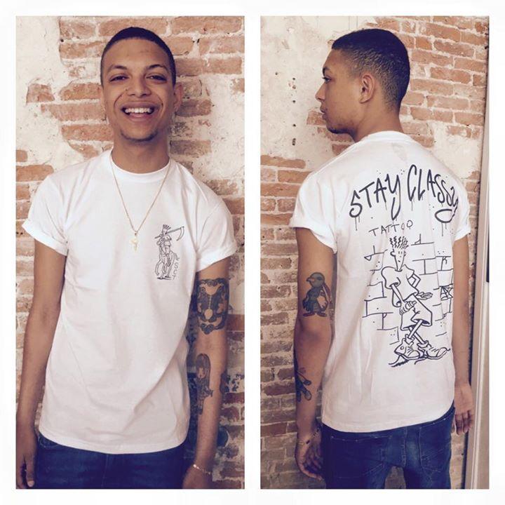 Ronnie Flex, shirt and tattoos by Stay Classy Tattoo
