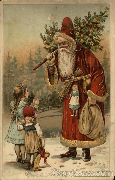 Santa and Two Little Girls Children