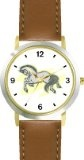 Best Buy White or Grey Mustang or Stallion Horse - WATCHBUDDY® DELUXE TWO-TONE THEME WATCH - Arabic Numbers - Brown Leather  Special offers - http://greatcompareshop.com/best-buy-white-or-grey-mustang-or-stallion-horse-watchbuddy-deluxe-two-tone-theme-watch-arabic-numbers-brown-leather-special-offers