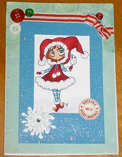 Christmas Card using Tickled Pink Stamp colored with Copics.