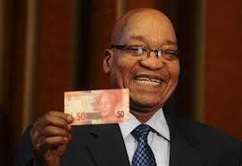 President Jacob Zuma with Mandela money