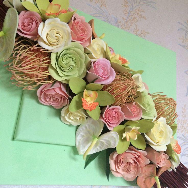 Панно из тропических цветов слепленных из японской полимерной глины . Размер цветочной композиции 70 см.