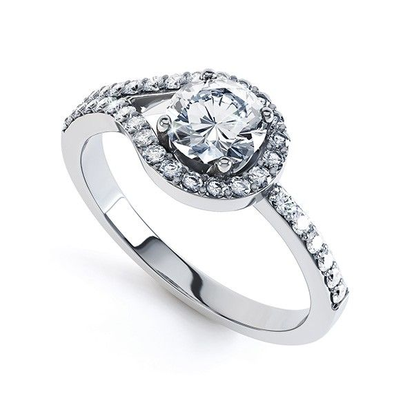 ''Legame'' Amazing Loop Design Diamond Halo Engagement Ring Experience the unique design of the Legame engagement ring one of our most popular halo ring styles.  Held within a four claw setting your chosen diamond dazzles within a loop of brilliant cut diamonds extending across each shoulder of the ring.