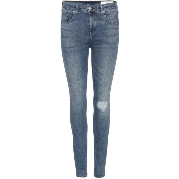 Rag & Bone 10 Inch Skinny Jeans (201 AUD) ❤ liked on Polyvore featuring jeans, pants, bottoms, blue, denim skinny jeans, blue skinny jeans, skinny fit jeans, skinny leg jeans and rag bone jeans