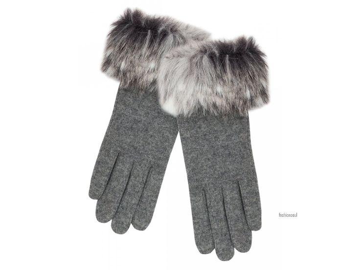 Dámské luxusní elegantní rukavice s kožešinovým okrajem z vlny