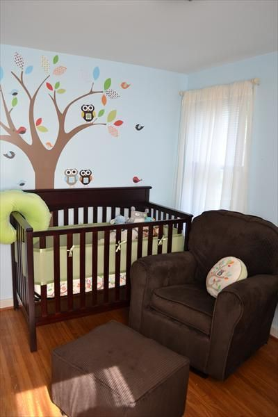 Skip Hop Treetop Friends. So, I registered for this set for baby number two. The walls are cream, curtains in the room are brown and I figured I could girl it up by pulling the aqua out of the sheet set. I thought I wanted lavender, but I really like this, too!