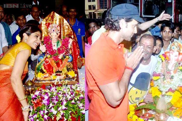 Ganpati visarjan: Shilpa Shetty and Hrithik Roshan bid adieu to Lord Ganesha
