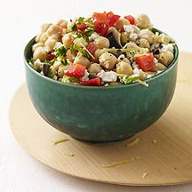 chickpea and feta salad - I use cilantro or dill in place of the parsley.  Light and refreshing for summer