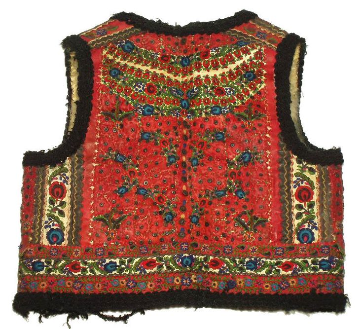 ANTIQUE Romanian Folk Costume embroidered leather vest sheepskin ethnic peasant