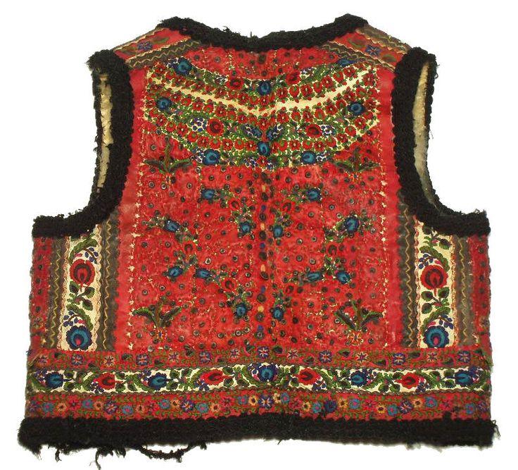 ANTIQUE Romanian Folk Costume embroidered leather vest sheepskin ethnic peasant
