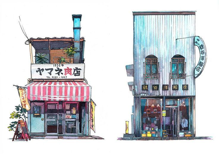 映画『君の名は。』の背景スタッフでもあり、東京在住のポーランド人イラストレーターが描く東京の店舗外観のイラストを紹介。コンクリートの多い母国ポーランドの建物と日本の建物を比較し、