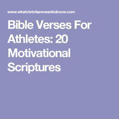 Bible Verses For Athletes: 20 Motivational Scriptures