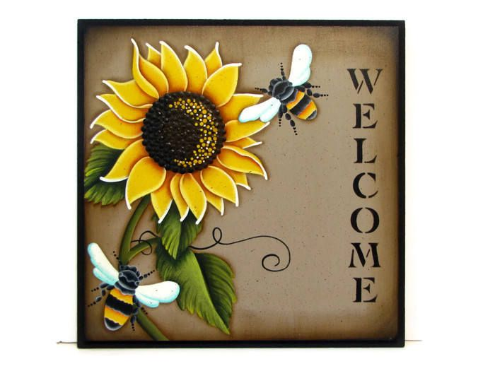 Sunflower and Bees Welcome Sign, Handpainted Wood, Hand Painted Home Decor, Wall Art, Tole Decorative Painting by ToleTreasures on Etsy