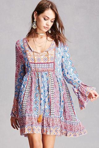 Velzera Abstract Peasant Dress