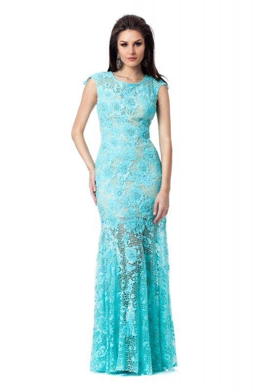 ea09ee7b9 Vestido Tiffany - Vestido longo azul tifanny em renda com bordados.