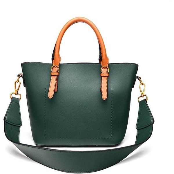 74357804c8f Bonsacchic Green Leather Handbag Women Shoulder Bag Luxury Handbags Women  Bags Designer Lady s Bag with Wide Strap dames tassen