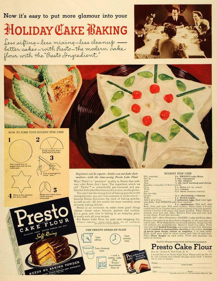 1940 Ad Presto Flour Holiday Star Cake Recipe Baking - ORIGINAL ADVERTISING LF3