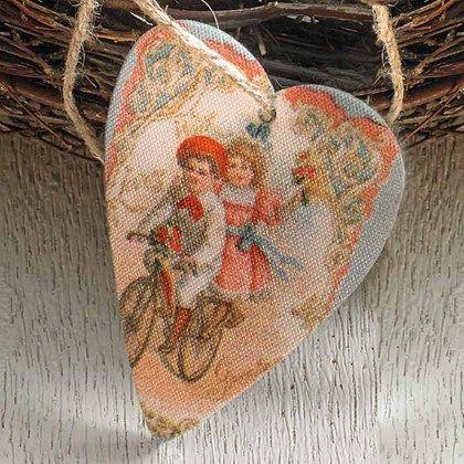 Hjärtan i vintagestil för dekoration och scrapbooking