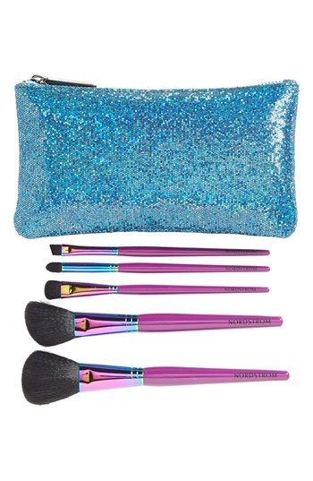 Free shipping and returns on Nordstrom METALLIC BRUSH SET at Nordstrom.com. A set of full-sized, vibrant-hued, synthetic-hair brushes by Nordstrom enables you to have makeup perfection each and every day. The specially designed brushes feature a holographic metallic neck with superior quality brush heads tucked into a glittering pouch for on-the-go ease.<br><br>Set includes:<br>- Powder brush<br>- Angled blush brush<br>- Allover eye brush<br>- Contour eye brush<br>- Angled liner brush<br…
