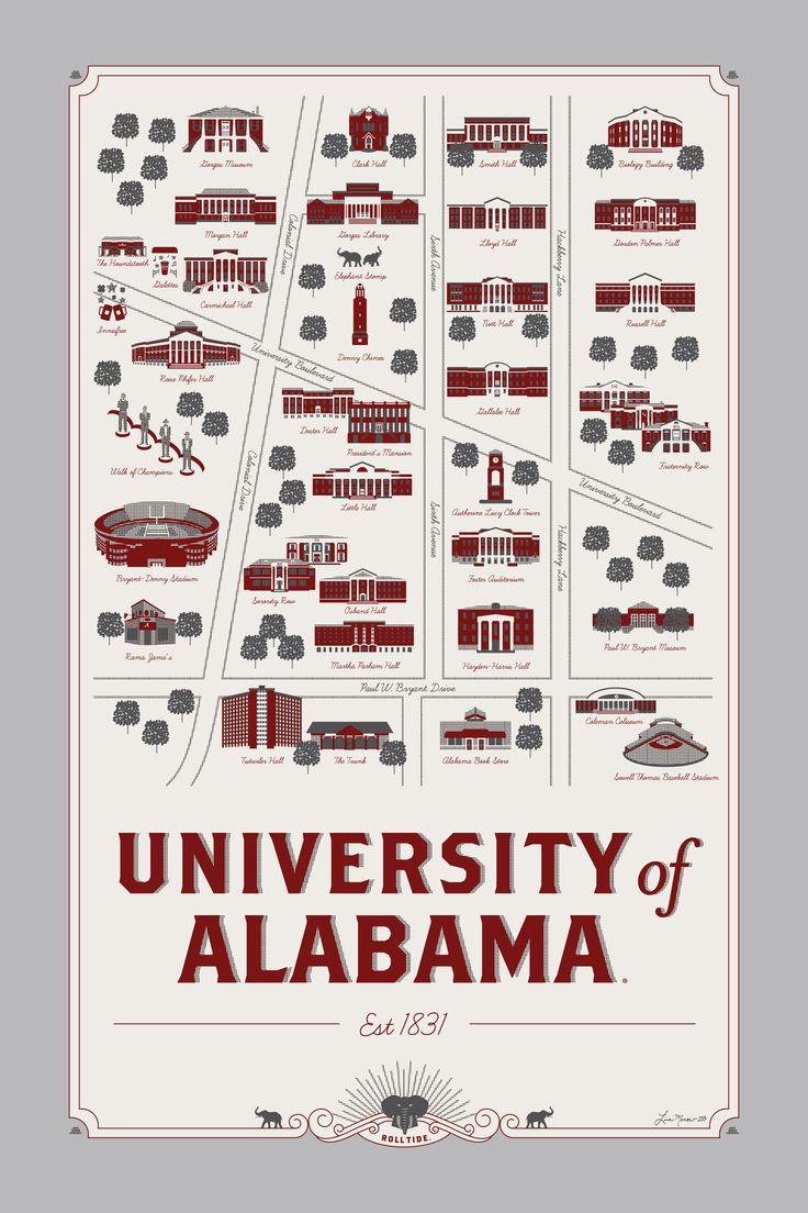 University of Alabama map 12 x 18