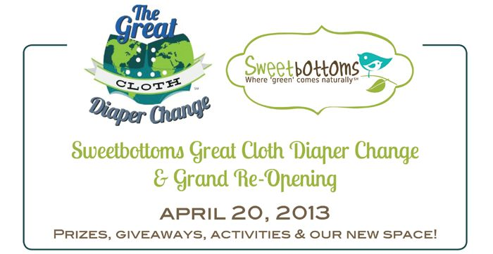 Join us at the Sweetbottoms Great Cloth Diaper Change and Grand Re-Opening event on Saturday, April 20, for an international cloth diaper changing event, prizes worth over $5,000, activities, classes, and more!