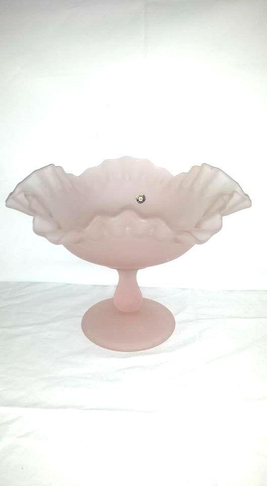 Vintage Westmoreland Pink Satin Compote, Crimped, Pedestal, Ruffled Dish, Pink Satin, Westmoreland, Vintage Pink Glass, Comport by JunkYardBlonde on Etsy