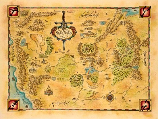 Shannara Map of the Four Lands.  Adam has also read and owns all of the Sword of Shannara books.  We could do either a Shannara map, or the Middle Earth map.