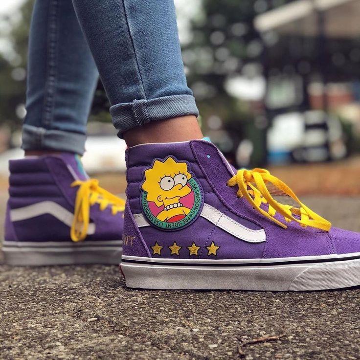 Vans x Simpsons 'Lisa 4 Prez' Sk8-Hi Top Sneakers in 2021 | Purple ...