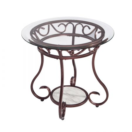 Joveco Red Bronze Metal Frame Round End Table With Tempered Glass Table Top