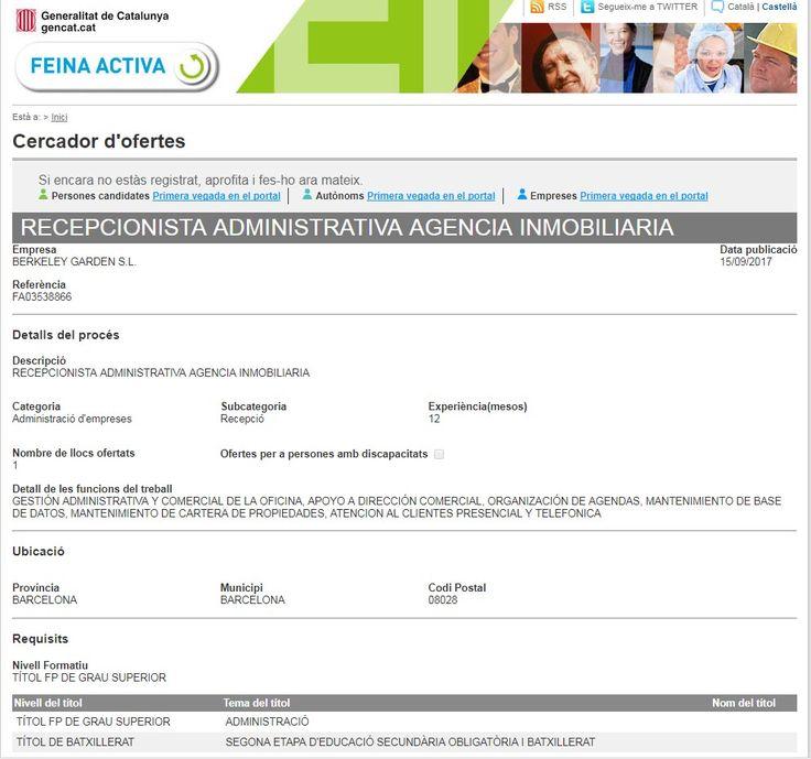 Oferta de #recepcionista #administrativa en #Barcelona.  #trabajo #empleo