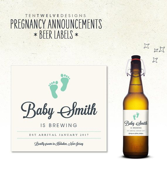 Pregnancy Announcement  Beer Bottle Labels // by TenTwelveDesigns