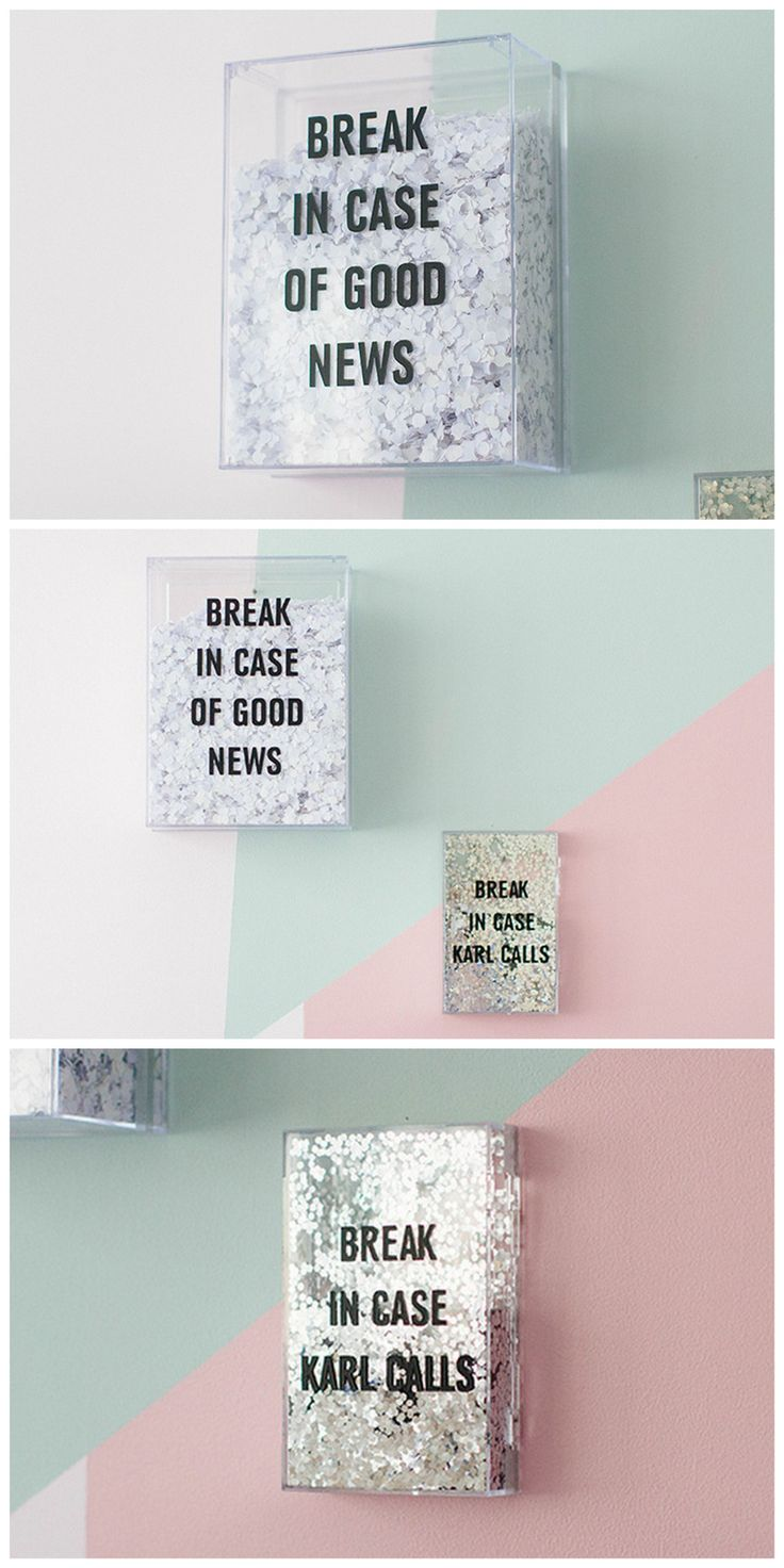 DIY Break in Case of Good News Confetti Boxes Tutorial from Make My Lemonade.Make DIY Break in Case of Good News Confetti Boxes with just a few supplies. Lisa used plexiglass boxes, but you could use...