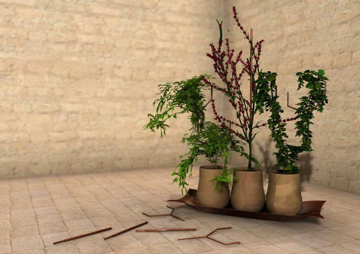 """Categoria Professionisti, primo premio: progetto """"Cover - Come Verde Rame"""", di Liuba Campolo.  La giuria sceglie all'unanimità COVER, acronimo di """"come verde rame"""", progetto di un sotto vaso e sostegno per piante, riconoscendo in esso una corretta e serrata analisi delle proprietà chimiche del rame, che giungono alla proposta di un sistema di """"agopuntura"""" per vegetali. La forma in cui tali funzioni si esprimono appare semplice ed efficace."""