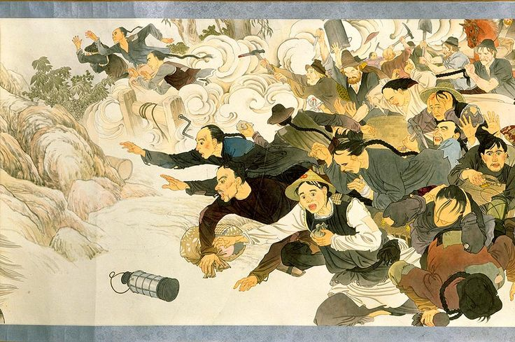In this scene, Chinese miners are fleeing from European rioters who are attacking them with spades and picks