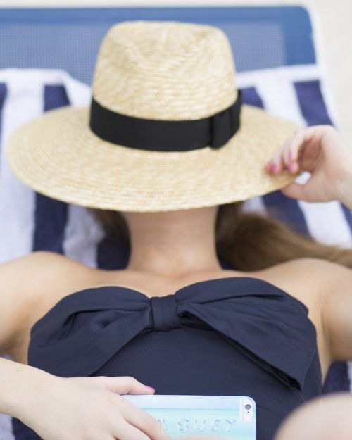 Kate Spade navy bow swimsuit.