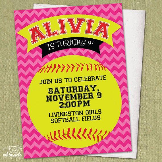 Chevron Softball Invitation - DIY Printable - Birthday Party Invite | softball pink chevron sports neon yellow birthday party invitation invite theme