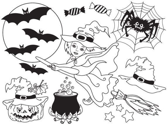 Items Similar To Halloween Clipart Digital Vector Black White Witch Moon Broom Pumpkin In 2020