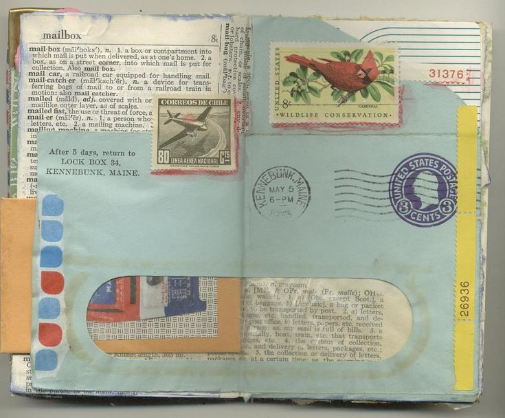 https://flic.kr/p/aPCvN4 | amymarie's journal 1 | A collage of bits in a mailart theme.  Stamps, vintage envelope, old dictionary page, stamp selvedges, game card (Probe), little envelope of vintage stamps and a bit of a CVS bag.
