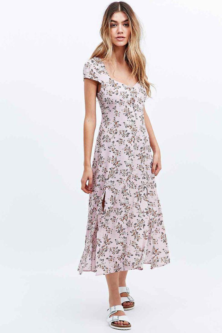 Minkpink Floral Print Midi Dress in Pink