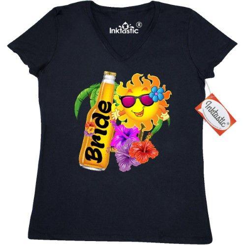 Inktastic Beer Beach Bride Women's V-Neck T-Shirt Honeymoon Newlywed Wedding Clothing Apparel Tees Adult, Size: XXL, Black