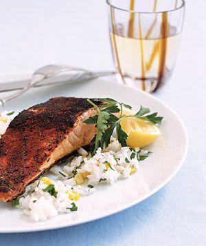 Blackened Salmon and Rice